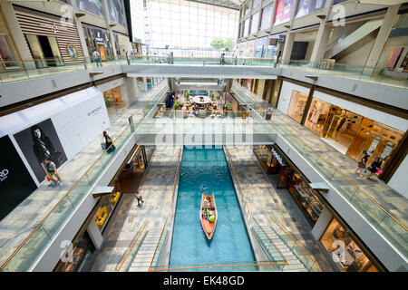 The impressive, huge new 'The Shoppes' at Marina Bay Sands, Singapore - interior of large, modern shopping centre - Stock Photo