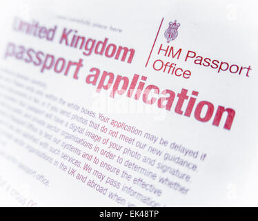 Detail Of A UK Or British Passport Application Form With Shallow DoF - Stock Photo