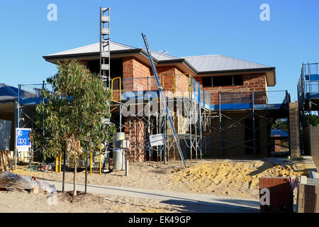New two storey house being built in the suburbs of Perth, Western Australia. - Stock Photo
