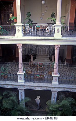 Terrace and balcony of an old house in Merida, yucatan, Mexico. - Stock Photo