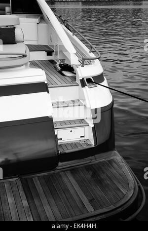 Italy, Naples, Atlantica luxury yacht (Cantieri di Baia boatyard), stern - Stock Photo