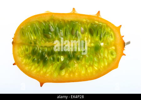 Kiwano, Horned melon fruit, cucumber Horn, Horn melon, Cucumis metuliferus - Stock Photo