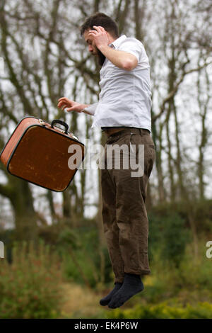 Avenham Park, Preston, Lancashire, UK 6th April, 2015. Comedy Trampoline Entertainer Maximilià Calaf Sevéat, Max - Stock Photo