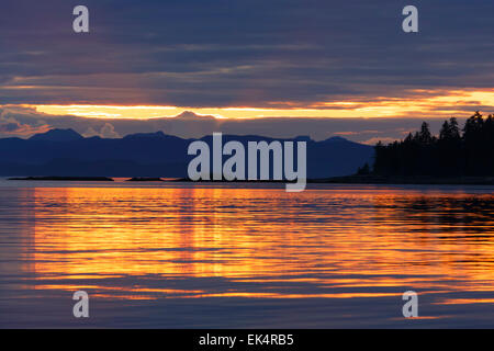 Sunset, Cape Fanshaw, Tongass National Forest, Alaska. - Stock Photo