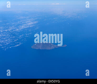 Italy, Tyrrhenian sea, Sicily, aerial view of Filicudi island (Aeolian Islands) - Stock Photo