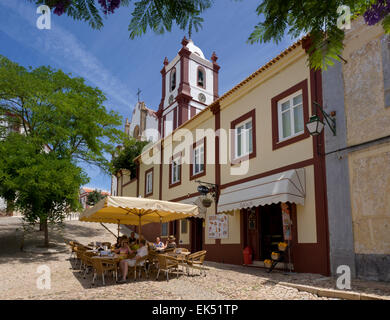 Portugal, the Algarve, Silves, a street café near the castle and cathedral - Stock Photo