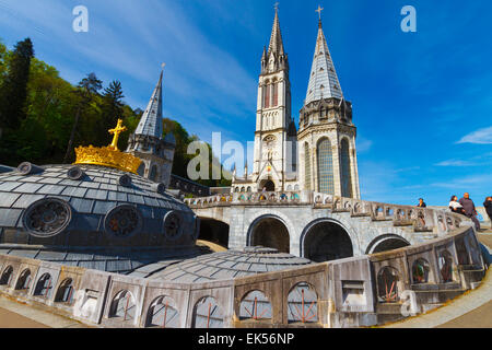Rosary Basilica. Lourdes city.  Hautes-Pyrenees department, Midi-Pyrenees region, France, Europe. - Stock Photo