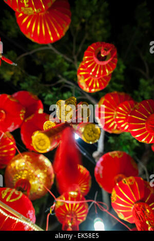 red lanterns and lucky know on chinese new year bottom view - Stock Photo