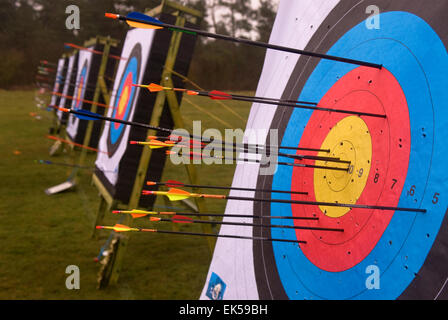 Arrows embedded in targets at a summer archery shoot, Whitehill, Bordon, Hampshire, UK. - Stock Photo