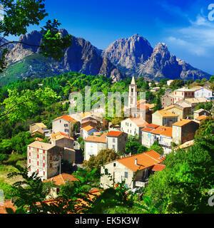 Beautiful Evisa,Impressive village in Corsica,France - Stock Photo