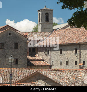 Roofs and bell tower of the Franciscan monastery of La Verna Tuscany - Stock Photo