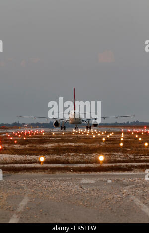 Italy venice international airport landing strip lights and italy venice international airport landing strip lights and aircraft ready for take off mozeypictures Gallery