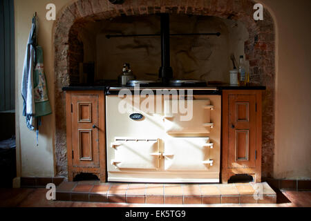 Old fashioned Aga in a country kitchen - Stock Photo