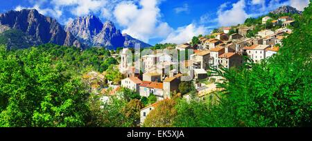 Evisa - beautiful mountain village in Corsica - Stock Photo