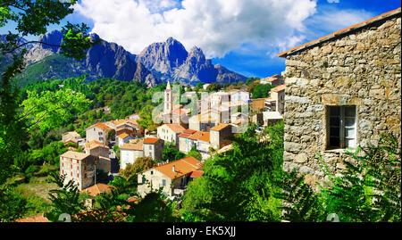 beautiful mountain village Evisa in Corsica island, France - Stock Photo