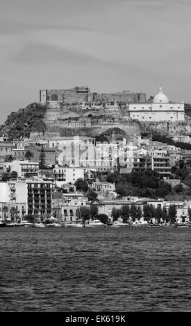 Italy, Sicily, view of Milazzo town from the sea - Stock Photo