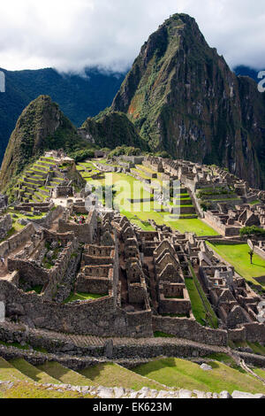 The Inca citadel of Machu Picchu in Peru, South America. - Stock Photo