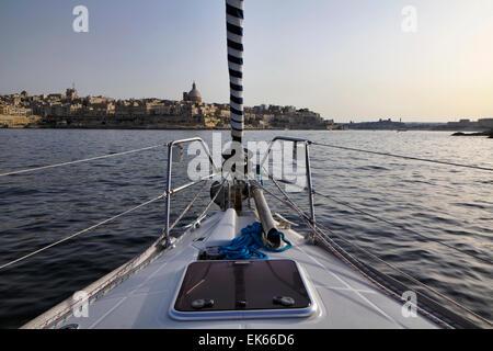 Malta Island, entering the port of Valletta on a sailing boat - Stock Photo