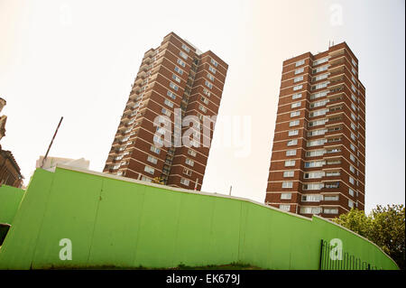 Two council tower blocks in London ,England - Stock Photo