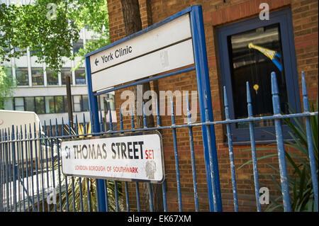 St Thomas Hospital street sign - Stock Photo