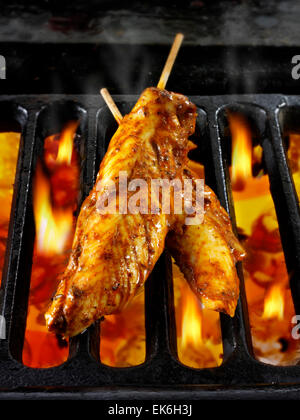 Chicken Tikka marinated chicken strips being cooked on skewers over hot charcoals. Indian recipe - Stock Photo