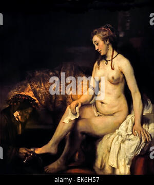 Bathsheba Bathing 1654 wit King David`s Letter ( King David he made her his wife )  Rembrandt Harmensz. van Rijn - Stock Photo