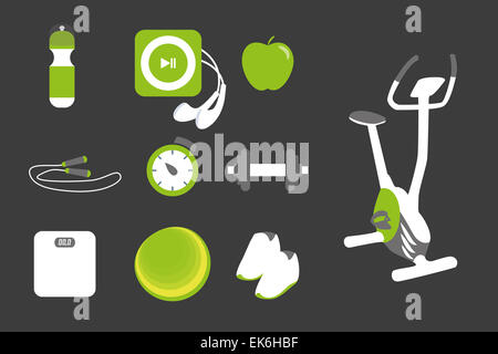 Fitness icons set - Stock Photo