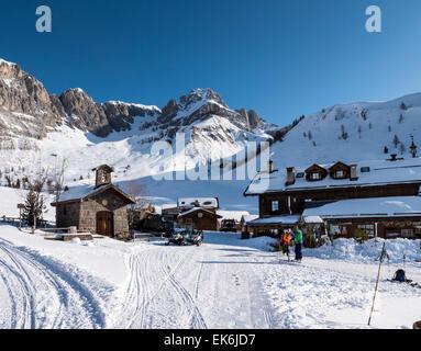 Rifugio Fuciade, Pale di San Martino, Dolomite Mountains, Alps, Italy - Stock Photo