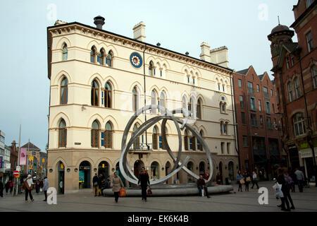The Spirit of Belfast - public art sculpture and Freemasons' Hall, Arthur Square, Belfast, Northern Ireland - Stock Photo