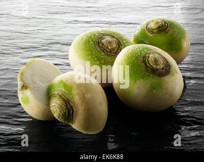 Fresh whole turnip or white turnip (Brassica rapa ) - Stock Photo