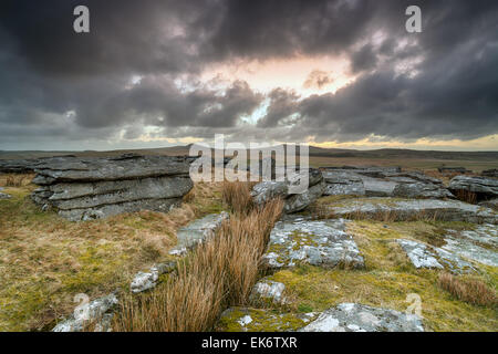 A dramatic stormy sky over Bodmin Moor in Cornwall, looking out toward the hills of Roughtor and Brown Willy - Stock Photo