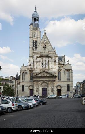 Église Saint-Étienne-du-Mont church is located on the Montagne Sainte-Genevieve in the 5th arrondissement in Paris, - Stock Photo