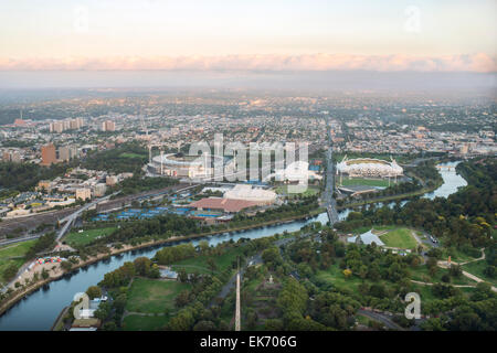 A  view along the Yarra River near the central business district of Melbourne, Australia. - Stock Photo