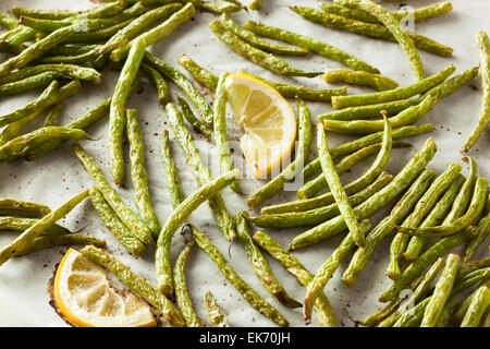 Homemade Sauteed Green Beans with Lemon and Garlic - Stock Photo