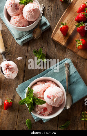 Cold Strawberry Ice Cream in a Bowl with Mint - Stock Photo