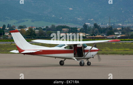 Aircraft waiting on the airport ready to take off - Stock Photo