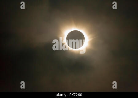 Total Solar Eclipse, 2015 just of Torshavn, Fareo Islands. - Stock Photo