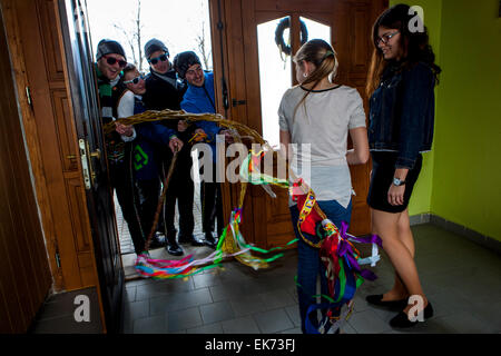 Easter Monday - young boys passes through the village with a whip and whipping girls - Stock Photo
