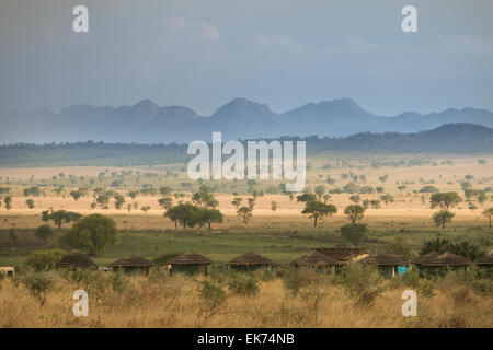 Apoka bandas (lodge) at Kidepo Valley National Park in Northern Uganda, East Africa - Stock Photo