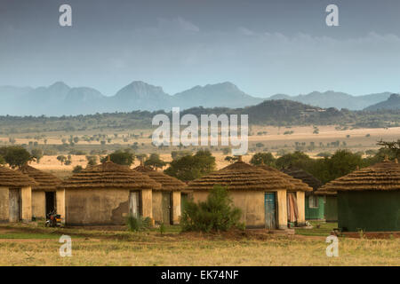 Apoka bandas (lodge) at Kidepo Valley National Park in Northern Uganda, East Africa - Stock Photo