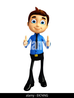 3d Illustration of businessman with thumbs up pose - Stock Photo