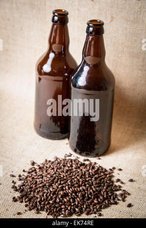 Roasted Barley, used as a flavouring in beer making. - Stock Photo