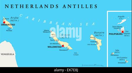 Dutch Caribbean political map with Aruba Curacao Bonaire Sint