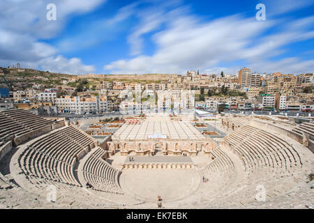 Amman, Jordan - March 22,2015: Tourists in the Roman amphitheatre of Amman, Jordan - Stock Photo