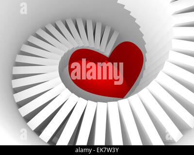 The way to the heart, 3d illustration metaphor with white spiral stairway and red heart sign - Stock Photo