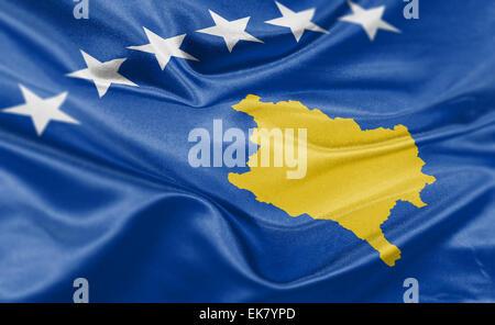 High resolution render of Kosovo's national flag. - Stock Photo