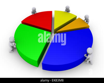 Five people complete pie chart - Stock Photo