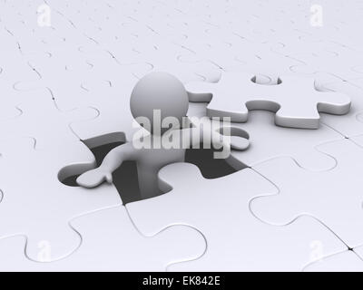 Person coming out of puzzle - Stock Photo