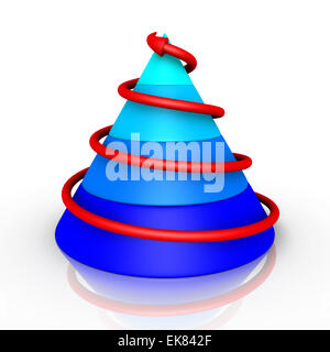 Cone graph with arrow going upwards - Stock Photo