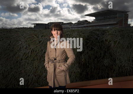 Irish jockey Katie Walsh, pictured next to the Chair, one of the most testing fences on the Grand National course - Stock Photo